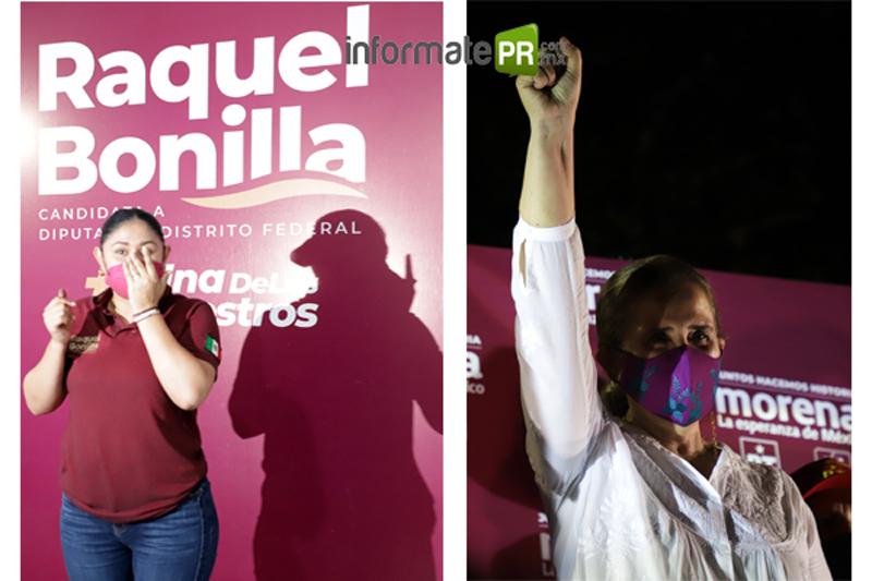 Raquel Bonilla se reelige como diputada federal, Cecilia Guevara a la diputación local (Fotos: Jorge Huerta E.)